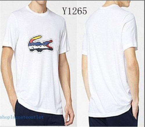 0f42f347bb9b45 Lacoste L!VE White Mens Short Sleeve Big Colar Croc Graphic T Shirt ...